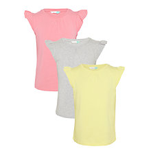 Buy John Lewis Girls' Frill Sleeve T-Shirts, Pack of 3, Multi Online at johnlewis.com