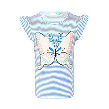 Buy John Lewis Girls' Stripe Butterfly T-Shirt, Blue Online at johnlewis.com