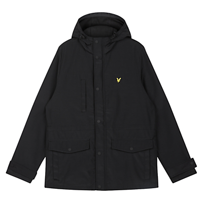 Lyle & Scott Micro FleeceLined Hooded Coat Black