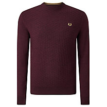 Buy Fred Perry Oxford Texture Merino Wool Crew Neck Jumper, Port Marl Online at johnlewis.com