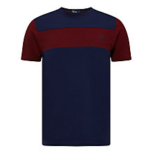Buy Fred Perry Textured Panel Contrast T-Shirt, French Navy/Rosewood Online at johnlewis.com