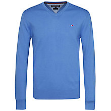 Buy Tommy Hilfiger Premium Cotton V-Neck Jumper, Regatta Online at johnlewis.com