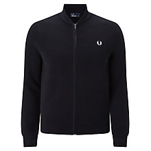 Buy Fred Perry Bomber Neck Zip Through Cardigan, Black Online at johnlewis.com