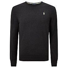 Buy Polo Golf by Ralph Lauren Pima Cotton Crew Neck Jumper, Onyx Heather Online at johnlewis.com