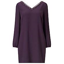 Buy Jacques Vert Petite Embellished Neck Tunic Dress, Dark Purple Online at johnlewis.com