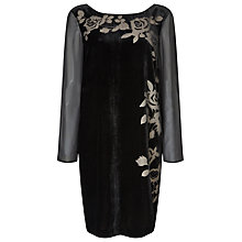Buy Jacques Vert Floral Burnout Velvet Dress, Multi/Black Online at johnlewis.com