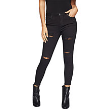 Buy Miss Selfridge Petite Lizzie Isko Jeans, Black Online at johnlewis.com