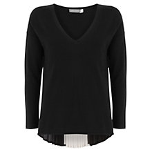 Buy Mint Velvet Pleat Back V-Neck Knit Jumper, Black Online at johnlewis.com