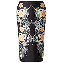 Buy Miss Selfridge Tropical Pencil Skirt, Black Online at johnlewis.com