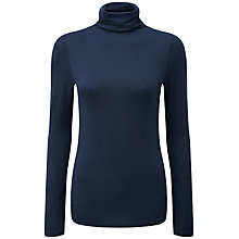 Buy Pure Collection Blair Roll Neck Top, Navy Online at johnlewis.com