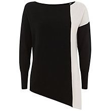 Buy Mint Velvet Blocked Asymmetric Knit Top, Black Online at johnlewis.com
