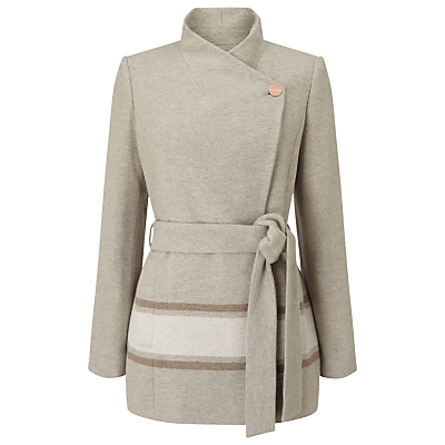 Jacques Vert Asymmetric Colourblock Coat, Light Neutral