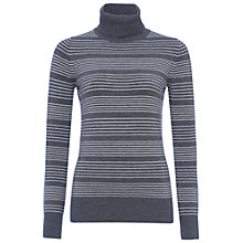 Buy French Connection Babysoft Pinstripe Turtleneck Jumper, Grey/Winter White Online at johnlewis.com