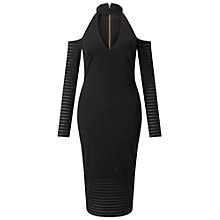 Buy Miss Selfridge Black Choker Long Sleeve Midi Dress, Black Online at johnlewis.com