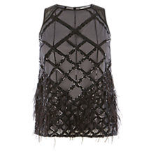 Buy Coast Tia Feather Top, Black/Silver Online at johnlewis.com