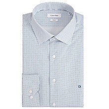 Buy Calvin Klein Cannes Cross Print Fitted Shirt, White/Aqua Online at johnlewis.com
