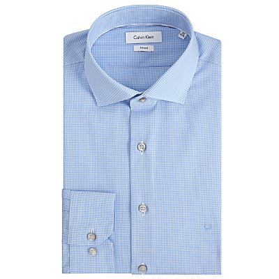 Image of Calvin Klein Rome Micro Gingham Fitted Shirt, Blue/White