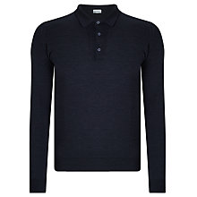 Buy John Smedley Belper Merino Long Sleeve Polo Shirt, Hepburn Smoke Online at johnlewis.com