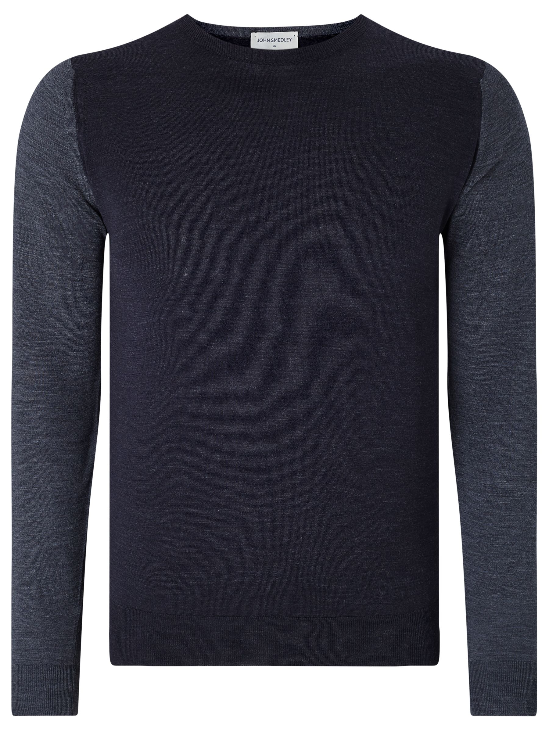John Smedley John Smedley Hindlow Contrast Body Crew Neck Jumper, Navy/Feather Grey