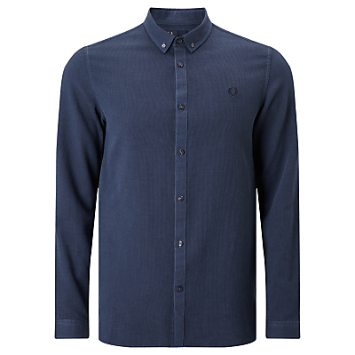 Image of Fred Perry Waffle Textured Shirt, Deep Night