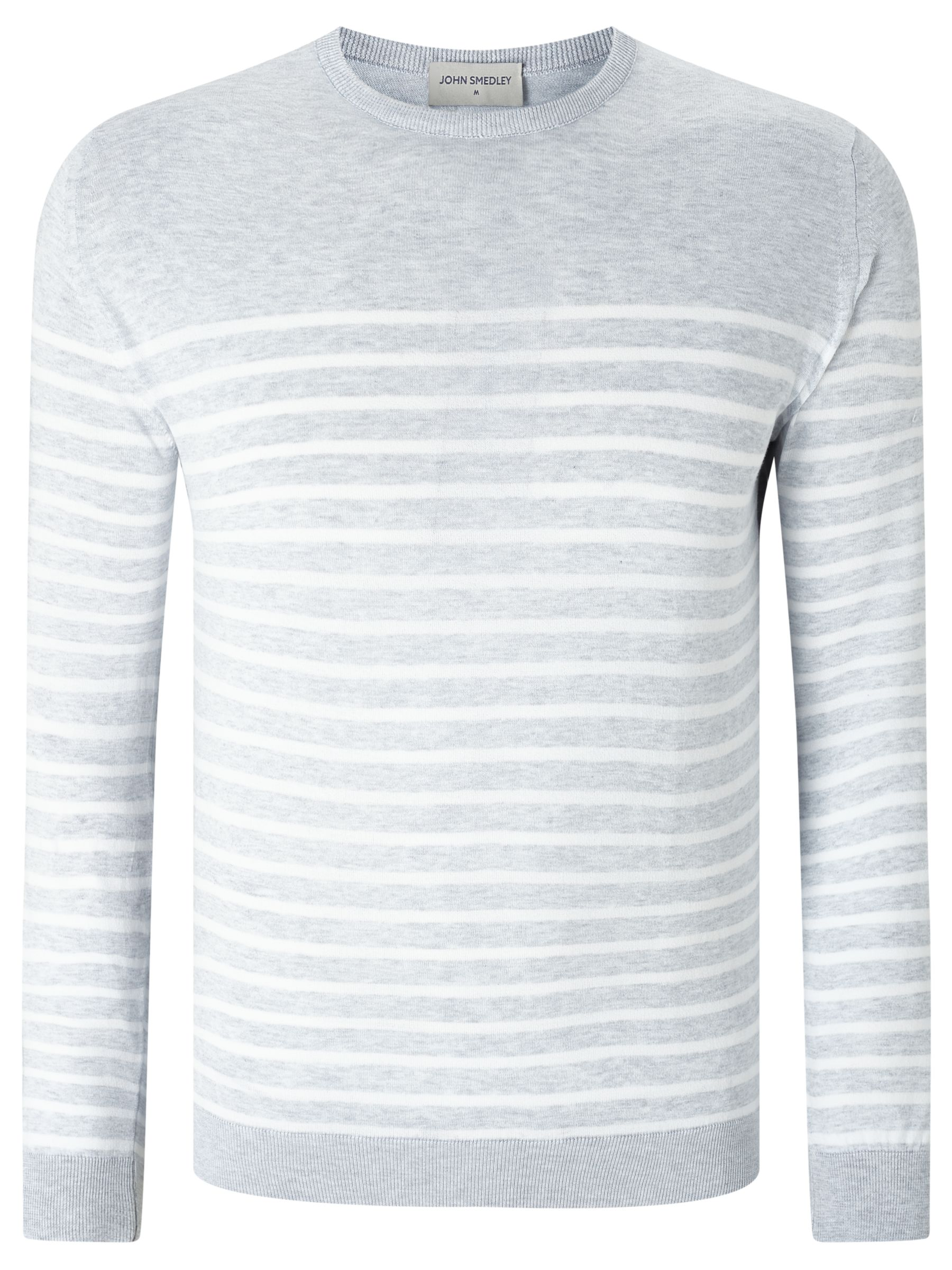 John Smedley John Smedley Redfree Sea Island Cotton Striped Crew Neck Jumper, Feather Grey
