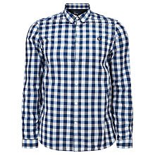 Buy Fred Perry Marl Gingham Long Sleeve Shirt, White Marl/Navy Online at johnlewis.com