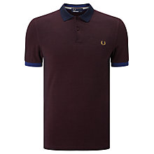 Buy Fred Perry Colour Block Pique Polo Shirt, Mahogany Black Oxford Online at johnlewis.com