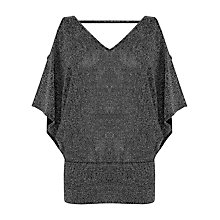 Buy Oasis Sparkle Cold Shoulder Top, Black Online at johnlewis.com