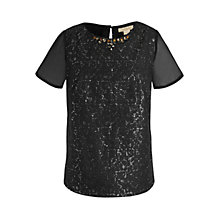Buy Celuu Heather Lacey Sequin Top, Black Online at johnlewis.com