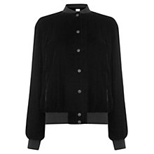 Buy Warehouse Velvet Bomber Jacket, Black Online at johnlewis.com