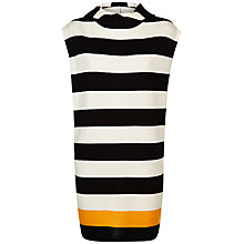 Buy Jaeger Block Stripe Hooded Tabard Jumper, Black/Ivory Online at johnlewis.com
