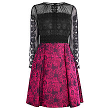 Buy Karen Millen Lace and Jacquard Prom Dress, Black/Multi Online at johnlewis.com