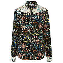 Buy Warehouse Thistle Print Western Shirt, Black Online at johnlewis.com