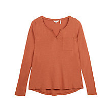 Buy Fat Face Notch Neck Jersey Top, Burnt Red Online at johnlewis.com