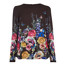 Buy Oasis Flora And Fauna Long Sleeve Top, Multi/Black Online at johnlewis.com