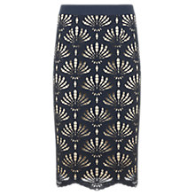 Buy Mint Velvet Lace Pencil Skirt, Blue Online at johnlewis.com