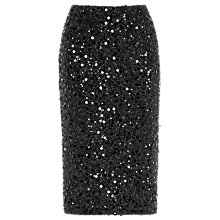 Buy Warehouse Sequin Pencil Skirt, Black Online at johnlewis.com