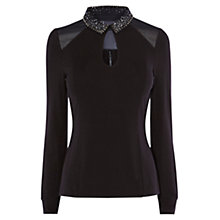 Buy Karen Millen Stud Artwork Colour Top, Black Online at johnlewis.com