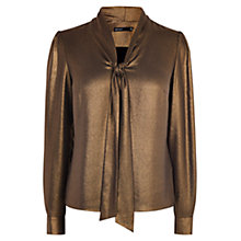 Buy Karen Millen V-Tie Neck Blouse, Bronze Online at johnlewis.com
