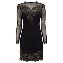 Buy Karen Millen Embroidered Lace Dress, Black Online at johnlewis.com