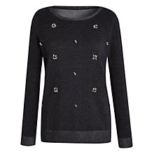 Buy Celuu Lucie Jewelled Jumper, Charcoal Online at johnlewis.com