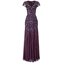 Buy Adrianna Papell Beaded Cap Sleeve Dress, Currant Online at johnlewis.com