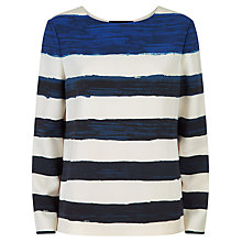 Buy Jaeger Painted Stripe Top, Ivory/Blue Online at johnlewis.com