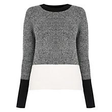 Buy Oasis The Perfect Crew Neck Colour Block Jumper, Black/Multi Online at johnlewis.com