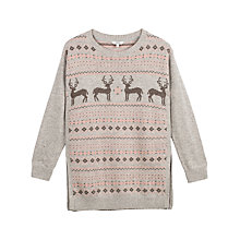 Buy Fat Face Festive Deers Jumper, Grey Marl Online at johnlewis.com