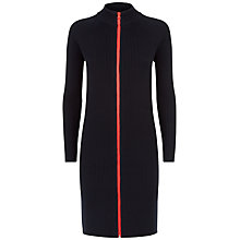 Buy Jaeger Zip Ribbed Turtle Neck Dress, Navy Online at johnlewis.com