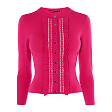 Buy Karen Millen Dot Lace Frill Cardigan, Pink Online at johnlewis.com