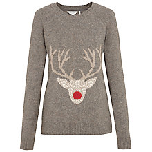 Buy Fat Face Fair Isle Stag Jumper, Moleskin Online at johnlewis.com
