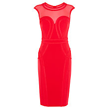 Buy Karen Millen Sheer Pencil Dress, Red Online at johnlewis.com