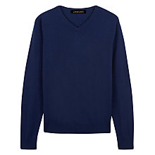 Buy Jaeger Cashmere V-Neck Jumper, Navy Melange Online at johnlewis.com